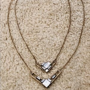 2 piece layered geometric necklace set